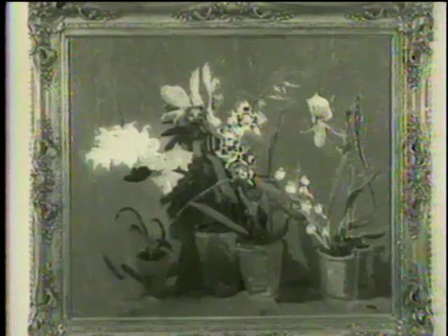 """""""Orchids"""", """"Mimizan Plage, Landes"""", """"Bottlescape"""", by Winston Churchill at Smithsonian Institution, Washington D.C. circa 1958 - MGM PICTURES, UNIVERSAL-INTERNATIONAL NEWSREEL, USA, filmed in 1958"""