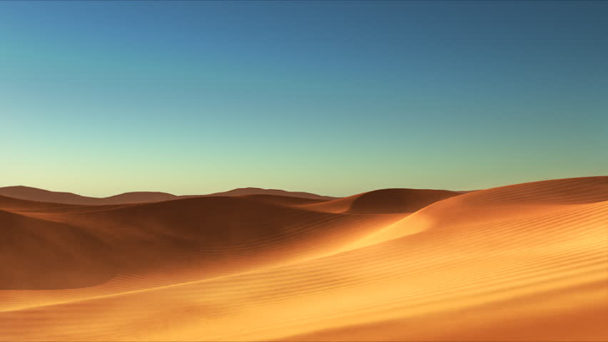 3D animated desert with dunes and sand