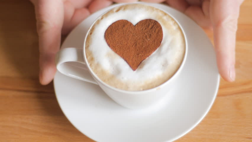 Valentine's cappuccino with heart in chocolate - HD stock video clip