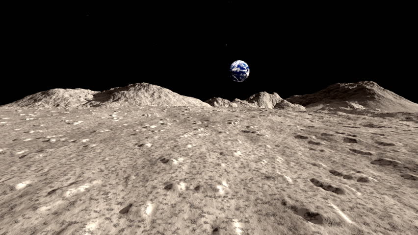 Moon landscape animation stock footage. A fast push shot on the Moons surface with the planet Earth hanging in the background