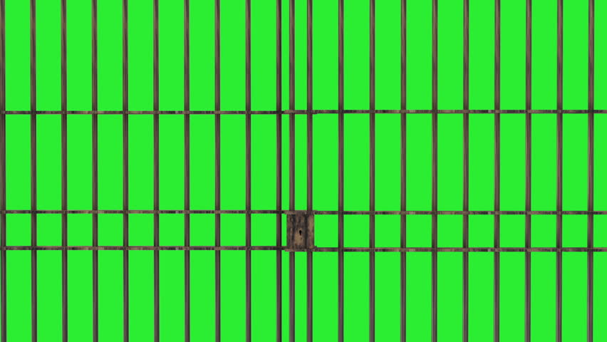 Animation of Closed Jail bars. HQ Video Clip with Green Screen and Alpha Channel  - HD stock footage clip