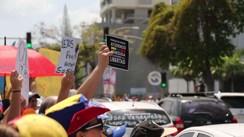 Panama City, Panama, Circa 2013: Venezuelans residents in Panama protest against their own government along the streets of Panama City, Panama, Circa 2013 - HD stock video clip