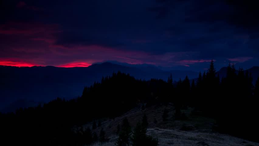 Time lapse clip. Fantastic mountain landscape with colorful cloud. Dramatic sky. Carpathian, Ukraine, Europe. Beauty world. Full HD video (High Definition)