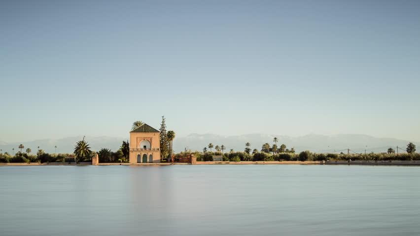 Timelapse of Menara Gardens en Marrakesh, Morocco
