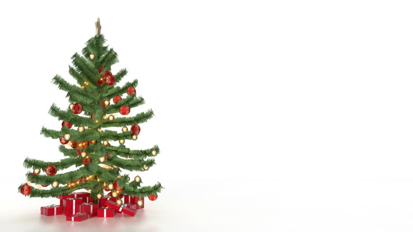 Christmas tree and decorations in an empty room