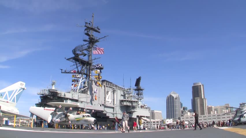 SAN DIEGO, California - February 17th: Time Lapse of Crowd at USS Midway Museum on President's Day, 2014