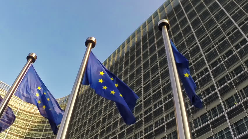European Union flags waving in the wind in front of European Commission, Brussels - HD stock footage clip