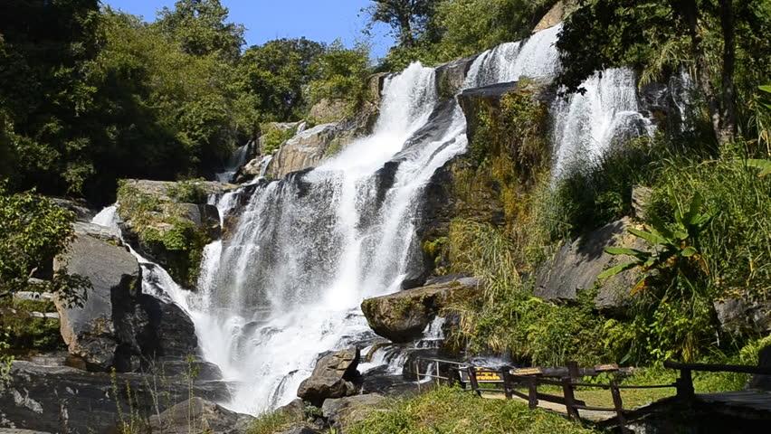 Mae Klang Waterfall of inthanon national park, chiang mai, thailand (slow motion shot) - HD stock video clip