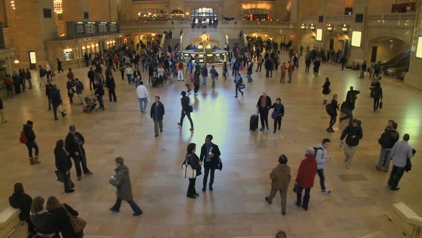 NEW YORK CITY - NOVEMBER 7: A time lapse (with motion blur) shows passengers coming and going at Grand Central Station on November 7, 2009 in New York City. - HD stock video clip