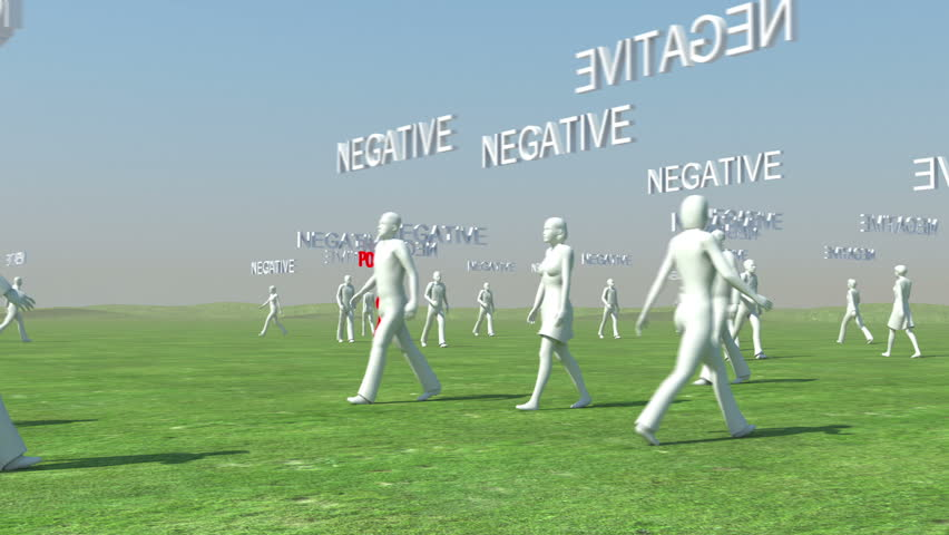 Crowd of people walking with Negative text and red leader with Positive