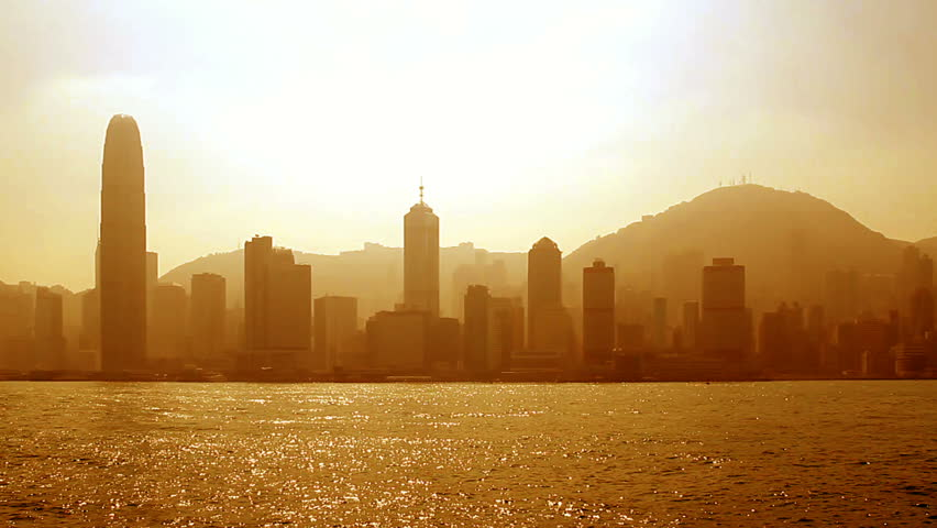 Hong Kong sunset cityscape along Victoria Harbour | Shutterstock HD Video #599656
