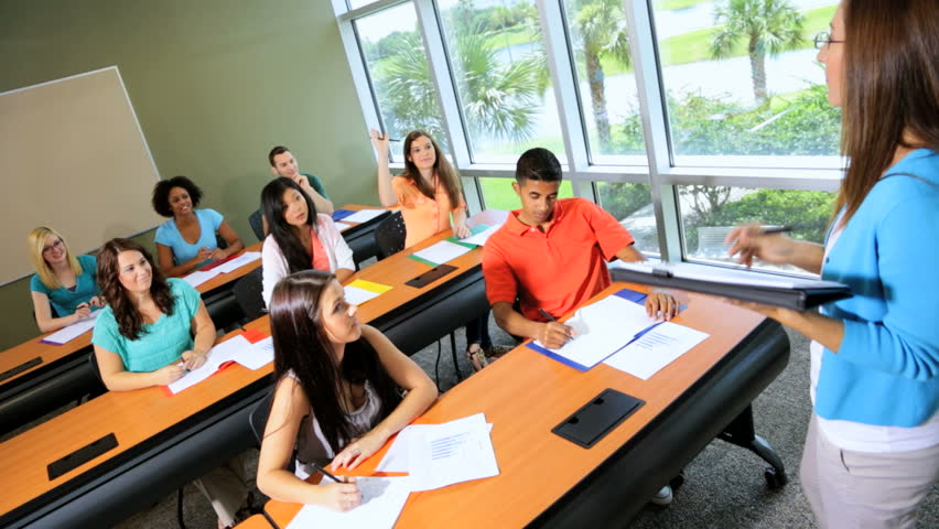 Modern Classroom With Students : Classroom multi ethnic teenagers on it business degree