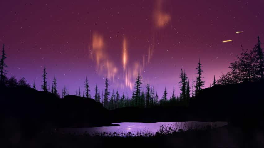 aurora borealis over forest