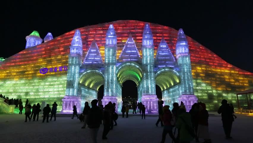 CHINA - CIRCA JANUARY 2014: Spectacular illuminated ice sculptures at the Harbin Ice and Snow Festival in Heilongjiang Province, Harbin, China