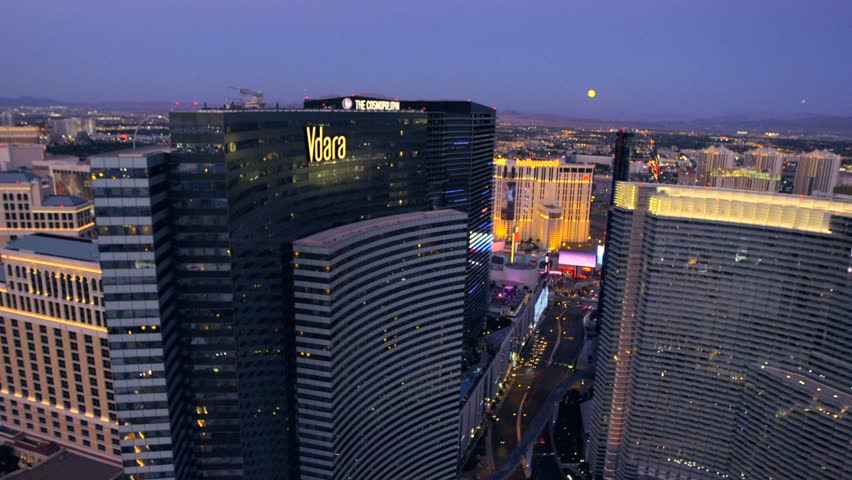 LAS VEGAS, NEVADA, CIRCA 2013 - Aerial view of the Vdara and The Cosmopolitan in Las Vegas, Nevada. - HD stock footage clip