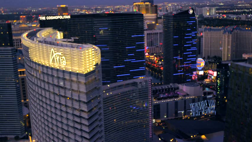 LAS VEGAS, NEVADA, CIRCA 2013 - Aerial view of the Aria and The Cosmopolitan in Las Vegas, Nevada. - HD stock footage clip