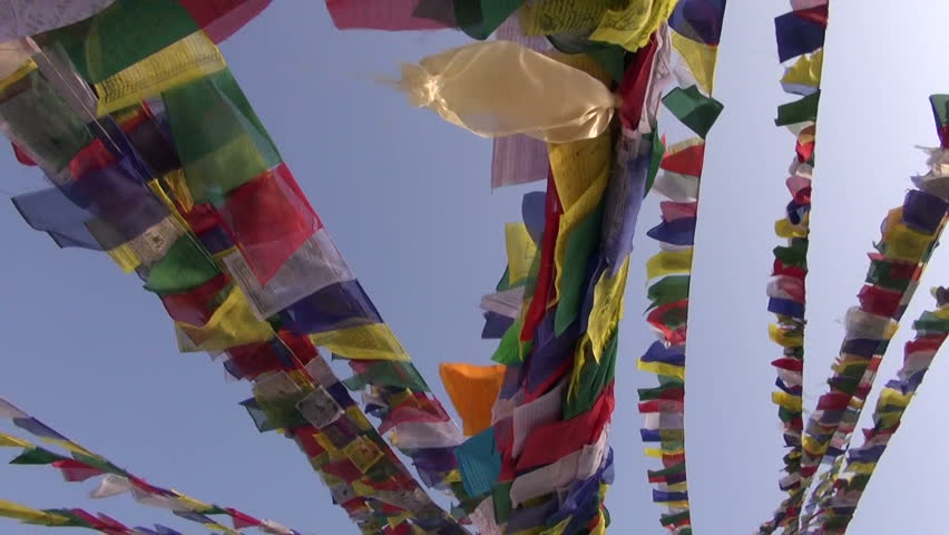 Buddhist prayers flag on bouddhnath stupa and camera motion, Katmandu,Nepal