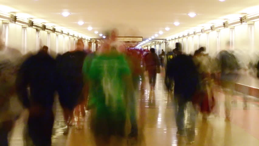 Time Lapse of Union Station Hallway with Commuters in Motion Blur -Close Up-