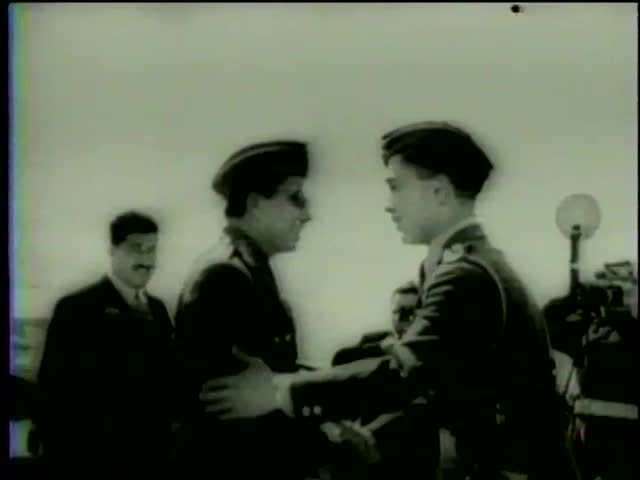 King Hussein of Jordan greets King Faisal II of Iraq during the visit of Premier Nuri al-Said and Faisai to Amman, Jordan circa 1958-MGM PICTURES, UNIVERSAL-INTERNATIONAL NEWSREEL, USA, filmed in 1958