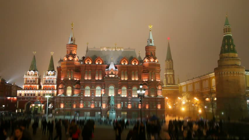 People walking at night in Red Square, Moscow, Russia  - HD stock video clip