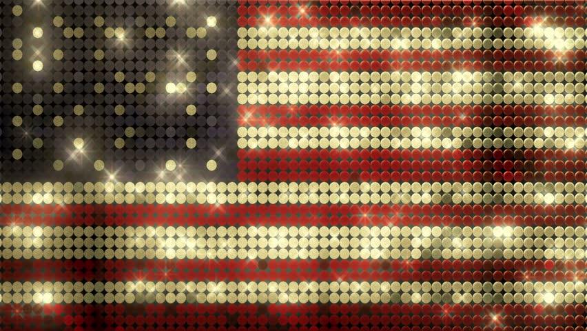 American Golden Glitter Flag Pins Alpha Matte Animation