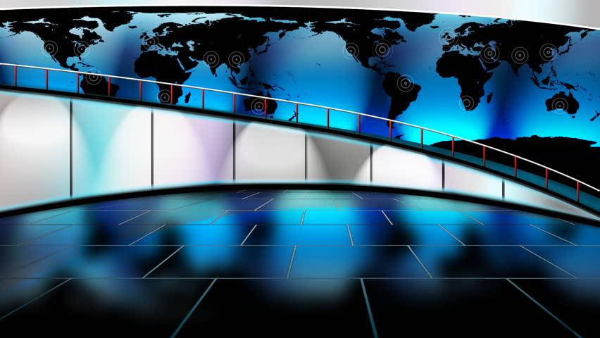 The Situation Room. Virtual News set with large walkway in the background.  It is kind of hard to see in the preview, but the map is animated with radio waves over the major cities of the world.