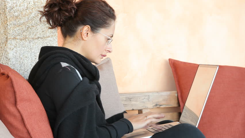 Woman with laptop - HD stock footage clip