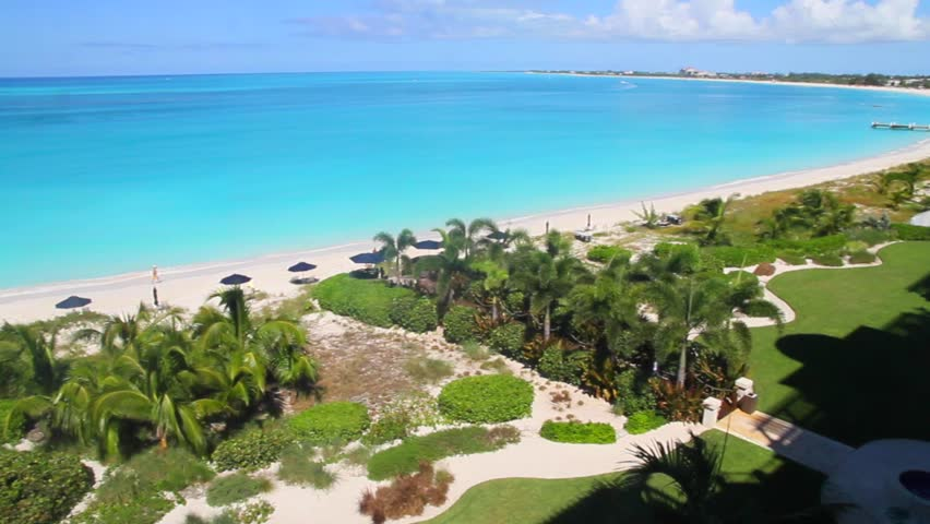 PROVIDENCIALES,TURKS/CAICOSISL. - CIRCA October 2011 :prime view from ocean front property balcony - HD stock footage clip