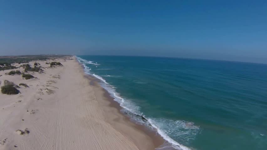 Aerial view of Mediterranean Sea beach, Israel - HD stock video clip