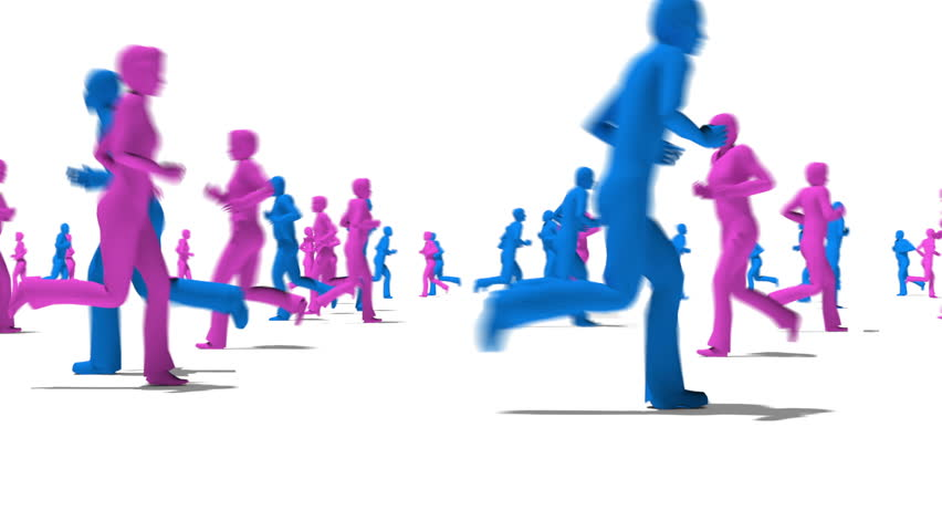 Many silhouetted characters men and women running across screen