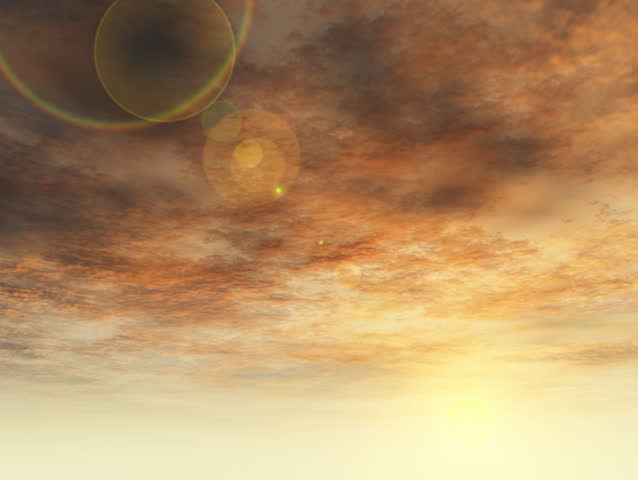 Warm sunrise  moves to blue sky daytime. Beautiful lens flair crosses screen. Original Animation