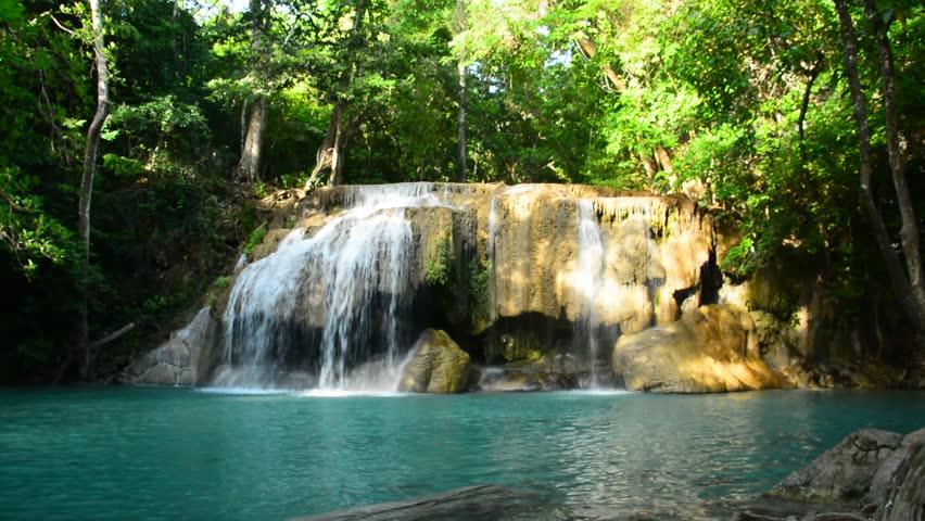 Waterfall beautiful  erawan waterfall  in kanchanaburi province  Thailand