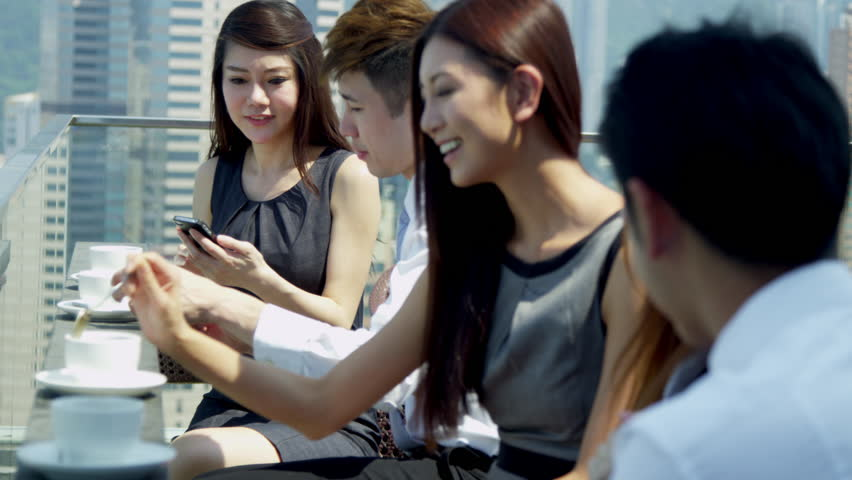 Group Male Female Asian Chinese Caucasian Business People ...