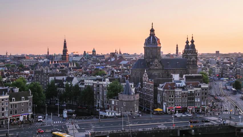Amsterdam skyline at sunset (the Netherlands)