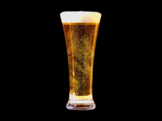 Glass of sparkling beer