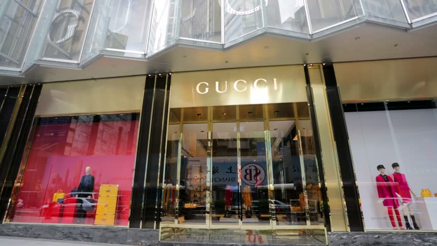 HONG KONG, CHINA - CIRCA JUNE 2014:  Gucci store, central business district. Gucci is an Italian fashion and leather goods brand, founded by Guccio Gucci in Florence in 1921.
