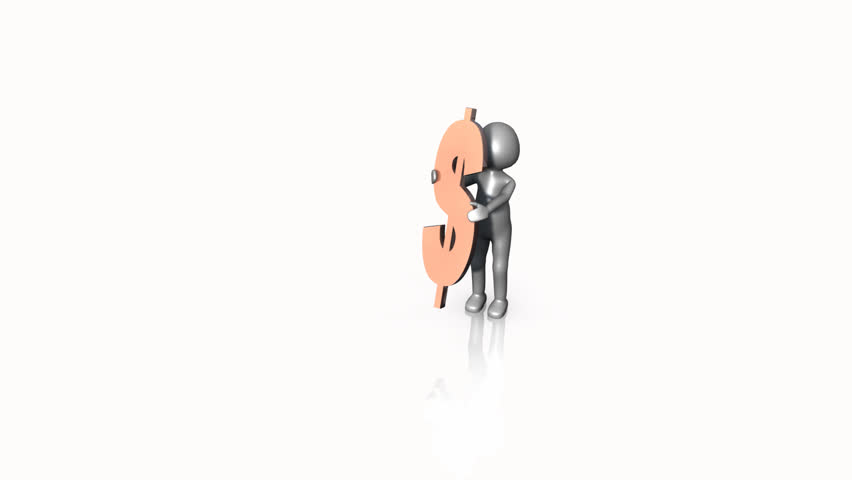 3D man walking with a dollar sign against a white background - HD stock footage clip