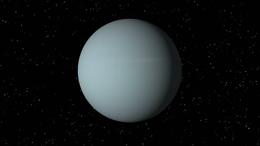 Satellite Approaches Planet Uranus 4K UHD, Rendered With ...