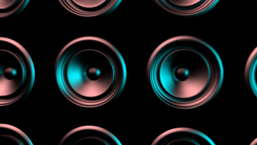 Pumping wall of speakers. 3d animation