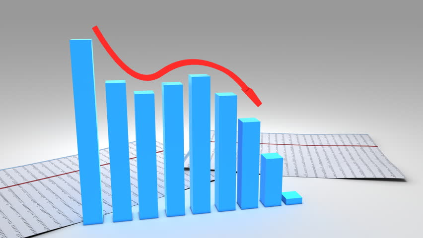 3d recession business chart graph with financial data - 1080p - HD stock video clip