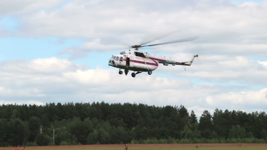 Airshow, Belarus, Minsk - 21.06.2014: Airshow, devoted to the 80th anniversary of DOSAAF. performance of rescue helicopters