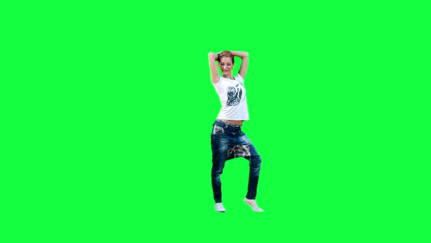 Dancing girl against a green background
