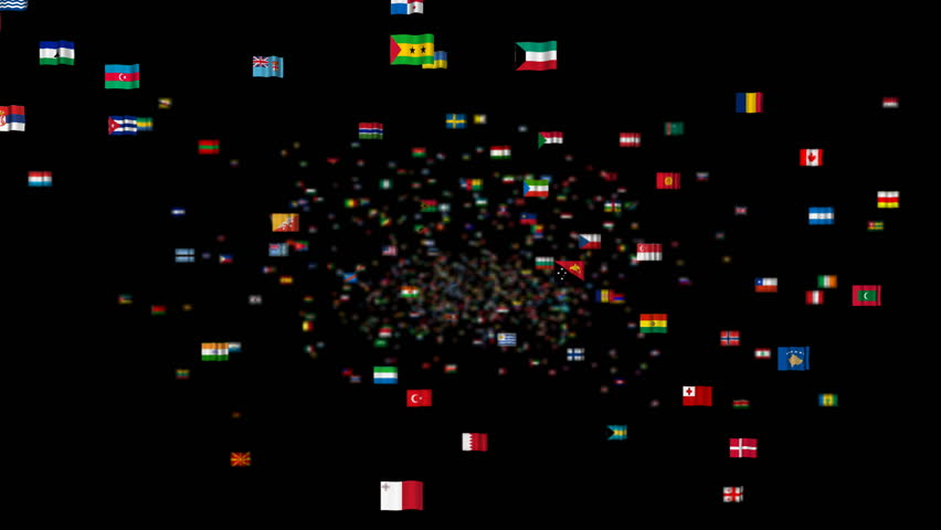 Fly through a giant collection of national flags of all of the countries in the world. Separate alpha mattefrom frame 441 to 880 so it's easy to use with your own footage. Selective focus used. - HD stock video clip