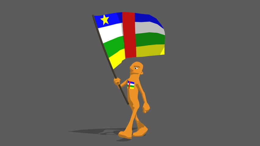 central african republic National Flag Carried By Character Loop. Features a marching type walk with flag held high billowing in the wind, a fun bright colorful cartoon. Transparency matte included. - HD stock footage clip