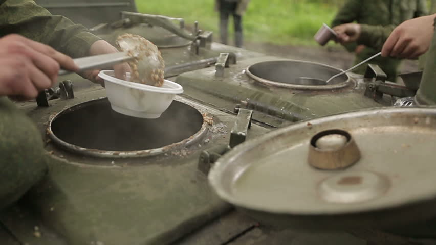 Field kitchen food and tea - HD stock footage clip