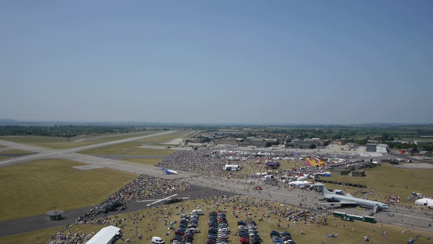 Aerial tracking shot of a RAF airshow on a bright and sunny day, this footage was captured using a Panasonic GH3 camera and aerial drone. Filmed by the Flyonix team in Southwest England.