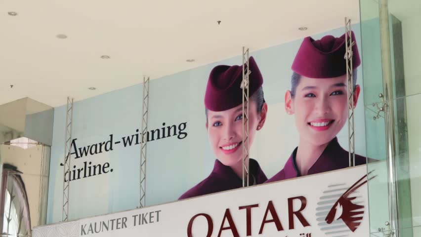 KUALA LUMPUR, MALAYSIA - CIRCA JUNE 2014: Qatar Airways office exterior. Qatar Airline is rated as top3 best airlines in the world. Qatar airline is flag carrier airline of Qatar