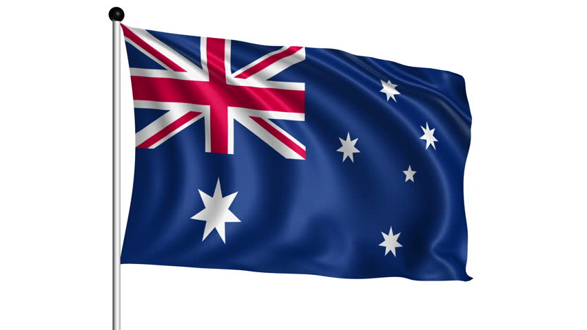 flag of Australia with fabric structure - looping; alpha channel included - HD stock video clip