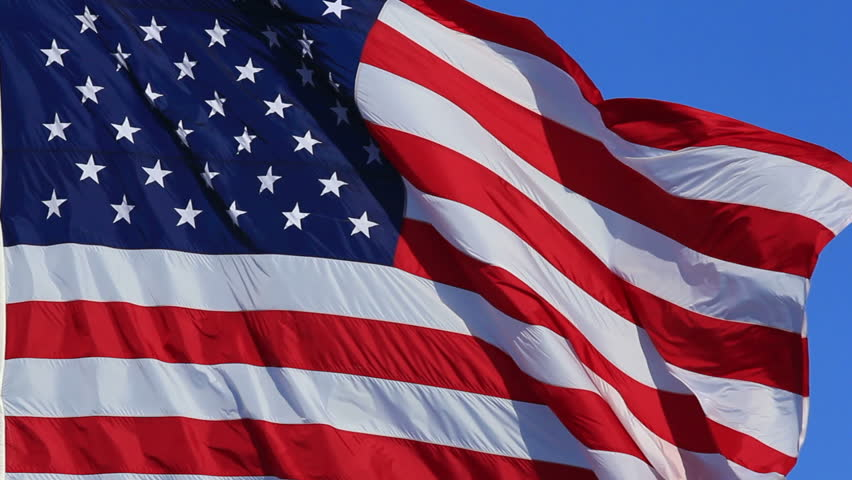 Perfect American Flag Waving and Flowing on Breeze, Close-Up  - HD stock footage clip