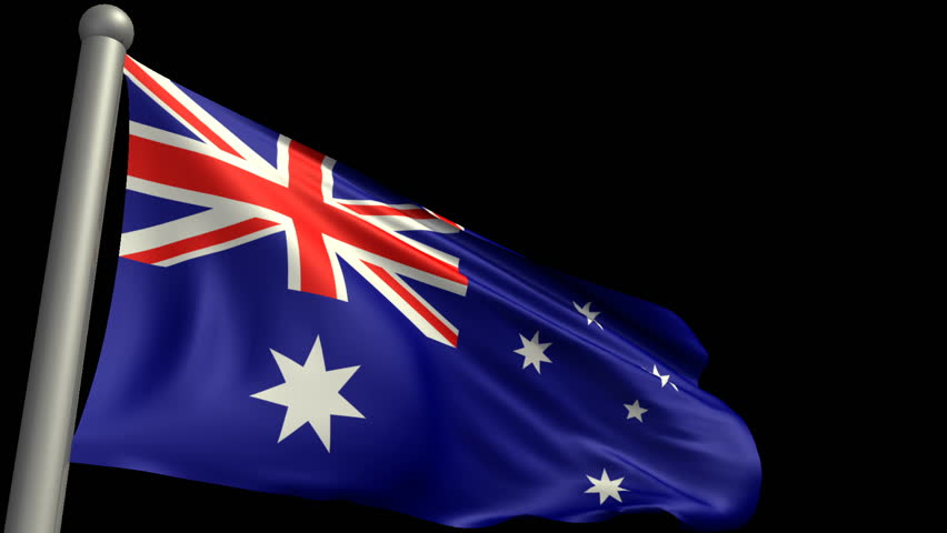 flapping national flag of Australia (isolated with alpha matte, repeatable)  - HD stock video clip